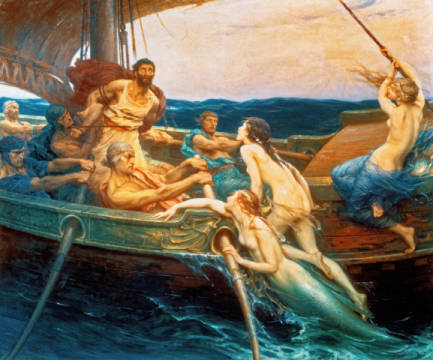 Odysseus and the Sirens of artist Herbert James Draper, 213, 182, 20th, Epos, Nude, 1909, James, Draper