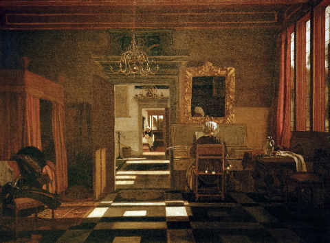 Interior with a Lady at the Virginal of artist Emanuel de Witte, 5cm, Bed, Rear, Wall, Lady, Home, 1665, Woman