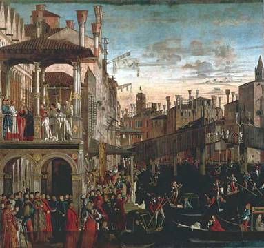 The Patriarch of Grado heals a Possessed Man of artist Vittore Carpaccio as framed image