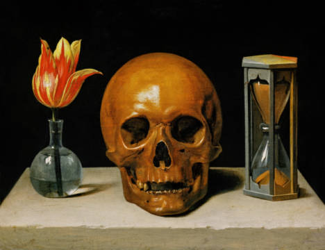 Vanitas, Allegory of the transience of life with skull and hourglass of artist Philippe de Champaigne as framed image