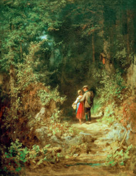 Liebespaar im Walde of artist Carl Spitzweg, Oil, Carl, 19th, Love, Pair, 1860, 25cm, Walde