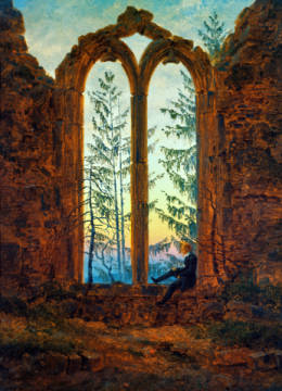 The Dreamer of artist Caspar David Friedrich, Erz, Oil, 21cm, 1360, Oybin, David, Sunset, Window