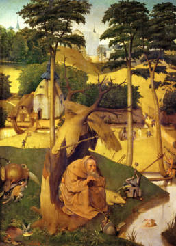 The Temptation of St. Antony of artist Hieronymus Bosch, Pig, Oil, 2049, 51cm, Evil, 16th, Work, Bosch