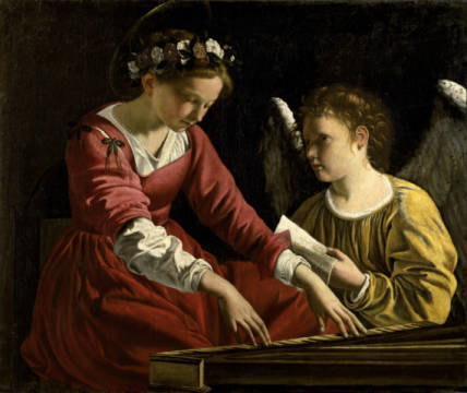 Saint Cecilia with an angel of artist Orazio Gentileschi, Oil, 105, Inv, 17th, Home, 1083, 90cm, Music