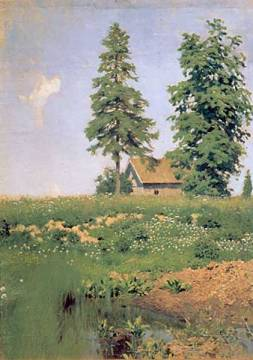Farmhouse on a meadow of artist Isaak Iljitsch Lewitan as framed image