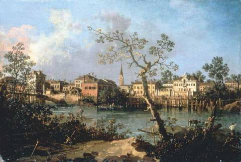 Veduta della riviera del Brenta of artist Giovanni Antonio Canaletto, Name, View, Real, 18th, 1760, River, Padua, Italy
