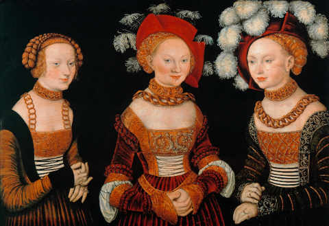 The princesses Sibylla, Emilia and Sidonia of Saxony of artist Lucas Cranach der Ältere, Hat, 877, 89cm, Chain, Hands, Photo, Woman, Elder