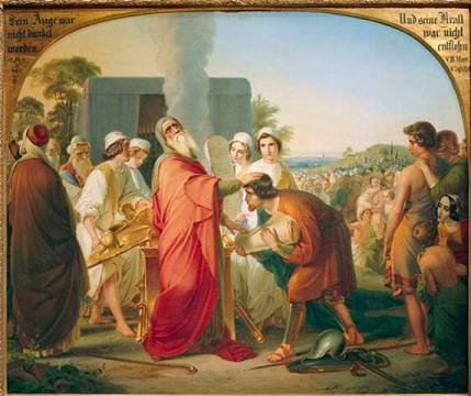 Moses gives command to Joshua of artist Moritz Daniel Oppenheim as framed image