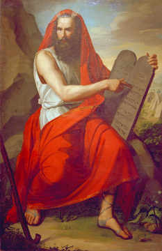 Moses with the Tablets of the Law of artist Moritz Daniel Oppenheim as framed image