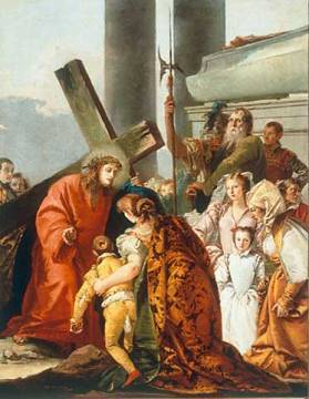 Carrying the Cross: Christ comforts the sorrowful women of artist Giovanni Domenico Tiepolo, 8th, Oil, Women, Cross, Venice, Rococo, Mother, Church