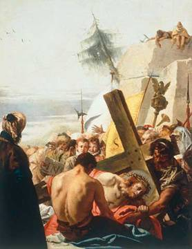 Carrying the Cross: Christ falls beneath the Cross for the third time of artist Giovanni Domenico Tiepolo as framed image
