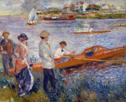 The Rowers at Chatou of artist Pierre Auguste Renoir, Oil, 100, 19th, Near, Trip, Ship, Free, Boat