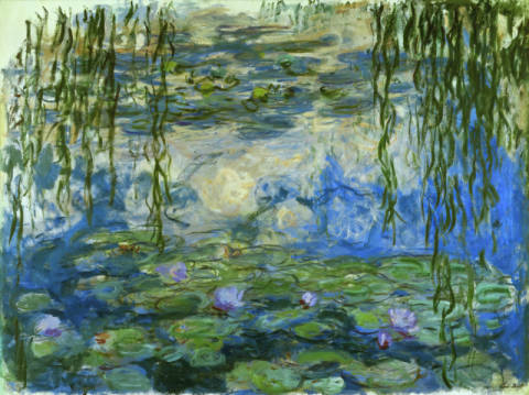 Water Lilies of artist Claude Monet as framed image