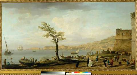 Vue du golfe de Naples - A view of the G of artist Joseph Vernet as framed image