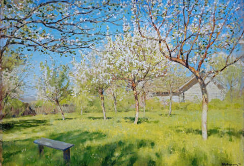 Apple Trees in Blossom of artist Isaak Iljitsch Lewitan as framed image