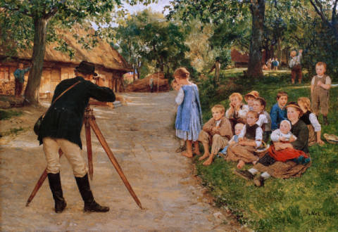 Der Geometer of artist Albert Anker, 19th, Life, Road, 1885, Child, Anker, Albert, Tripod