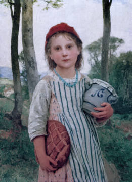 Rotkäppchen of artist Albert Anker, Red, Pot, 1883, 19th, Girl, Anker, Human, Bread