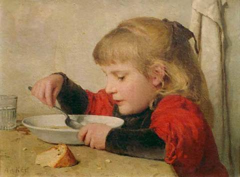 Girl eating soup of artist Albert Anker, Oil, Food, Soup, 1898, Girl, Anker, Swiss, Child