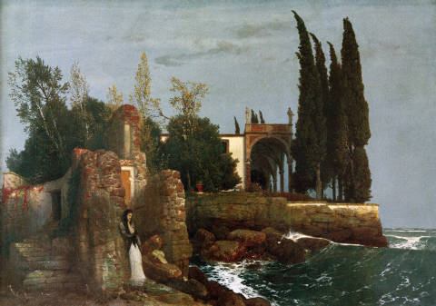 Villa by the Sea of artist Arnold Böcklin, 110, Oil, 5th, Sea, Girl, Heirs, House, Coast