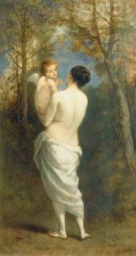 Venus amd Cupid of artist Narcisse Virgile Diaz de la Pena as framed image