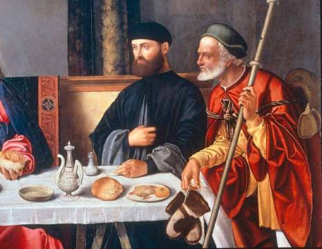 Christ in Emmaus of artist Vittore Carpaccio, Oil, San, 16th, 1513, 1455, Wood, Table, Group