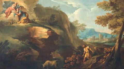 Landscape with Moses receiving the Tables of Law of artist Gaspare Diziani as framed image