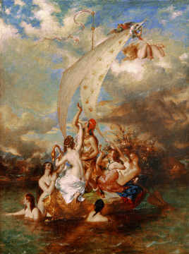 Youth on the Prow, and Pleasure at the Helm of artist William Etty, 117, God, Bug, 1847, Life, Boat, Etty, 19th