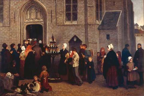 Pilgrimage to Diegem of artist Charles de Groux, Oil, Door, Male, Female, Church, Diegem, Clergy, Scenes