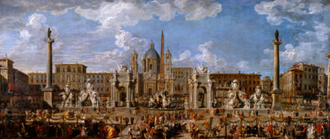 Preparation For the Firework Display Held at Piazza Navona, Rome, to Celebrate the Birth of the Dauphin, 1729 of artist Giovanni Paolo Pannini, 252, Rom, Heir, 1691, Italy, Paolo, Title, Anlaß