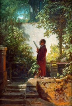 Zeitungsleser im Hausgärtchen of artist Carl Spitzweg, 1cm, Oil, Bst, Male, 19th, Yard, Wall, Paper