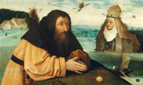 The Temptation of St Anthony of artist Hieronymus Bosch, Inv, Male, Monk, Wood, 16th, 15th, Story, Evils