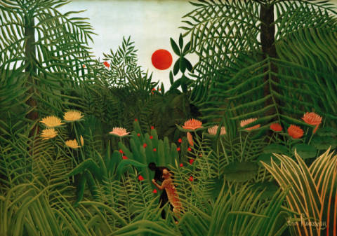 Jungle landscape with setting sun of artist Henri J.F. Rousseau as framed image