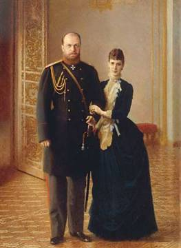 Portrait of Tsar Alexander III and Empress Maria Feodorovna of artist Iwan Nikolajewitsch Kramskoi as framed image