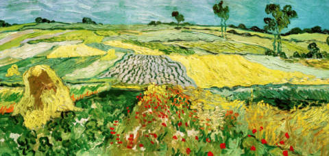 Fields in Auvers of artist Vincent van Gogh, Van, Oil, June, Gogh, 1890, Month, Field, Canvas