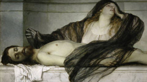 Sorrow of Mary Magdalene at the Body of Christ of artist Arnold Böcklin as framed image