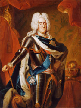 Portrait of Augustus II, King of Poland wearing Armour & the Insignia of the Orders of the Golden Fleece & the Polish White Eagl of artist Louis de Silvestre as framed image