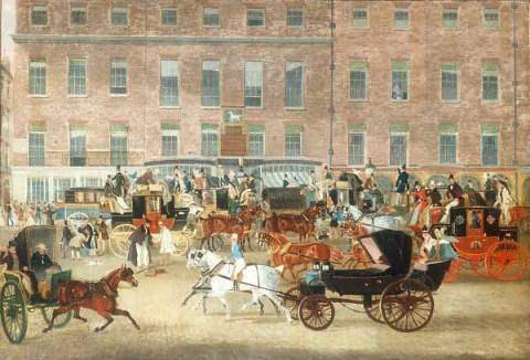 Hatchetts-The White Horse Cellar, Piccadilly, the Devonport Mail and a Barouche in the Foreground of artist James Pollard, Lot, Big, Oil, Trip, 66cm, Coach, Buggy, Hotel