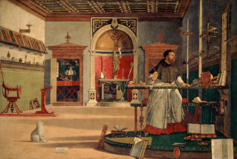 Vision of Saint Augustine of artist Vittore Carpaccio, Dog, Work, 1455, 208cm, Jerome, Scribe, Father, George
