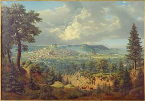 View of Marburg of artist Carl Georg Adolph Hasenpflug, Oil, Inv, 147, 105, City, 1832, Lahn, View