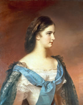 Empress Elizabeth of Bavaria (1837-98) as a young woman of artist Franz Schrotzberg as framed image