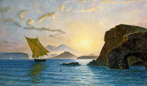 A View from Ischia Showing the Island of Procida, Vesuvius and Cape Miseno, Italy of artist Léon Berthoud, Sky, Cap, Lot, Léon, Dawn, 1890, 19th, Times