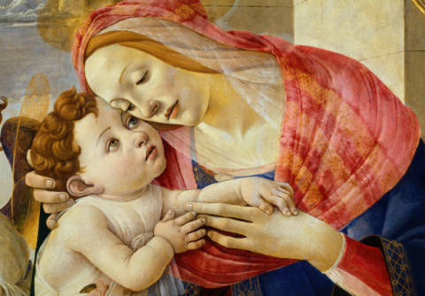 Mary with the Child and angels of artist Sandro Botticelli as framed image