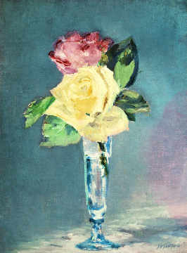 Roses in a champagne glass of artist Edouard Manet, Oil, Life, Vase, 1882, 19th, Dans, 25cm, Manet