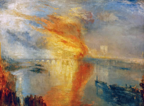 The Burning of the Houses of Lords and Commons, October 16, 1834 von Künstler Joseph Mallord William Turner als gerahmtes Bild