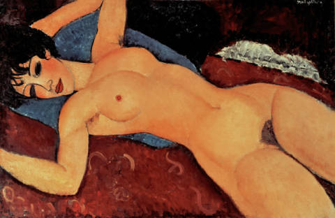Red Nude of artist Amedeo Modigliani, Red, Oil, 1917, Open, Arms, Nude, Milan, Ecole