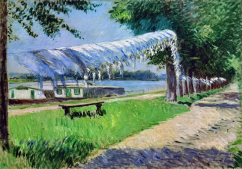 Drying laundry on the banks of the Seine of artist Gustave Caillebotte as framed image