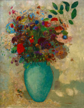 Flowers in a Turquoise Vase, c.1912 of artist Odilon Redon, Oil, 19th, Life, Vase, Redon, 1900s, Large, Grand