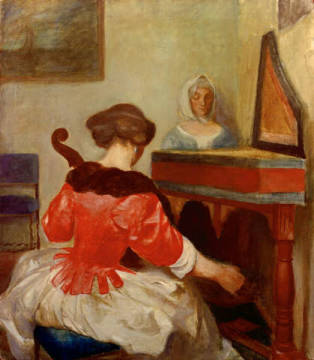 The concert, copy after Gerard ter Borch of artist August Macke, Oil, Life, 17th, Wood, Home, Music, Family, Century