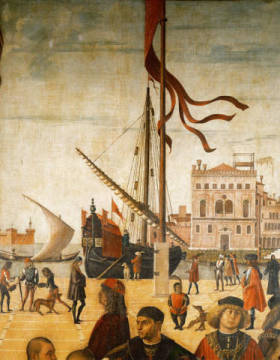 Arrival of the English ambassadors of artist Vittore Carpaccio as framed image