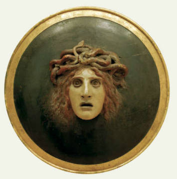 Plate with the Head of Medusa of artist Arnold Böcklin, 19th, Swiss, Relief, Weapon, Medusa, Arnold, Shield, German
